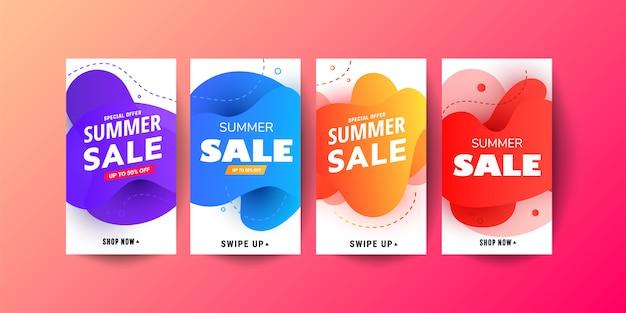 Banners de venda móvel fluido moderno de promoção de história. design de modelo de banner de venda, grande oferta especial de venda conjunto
