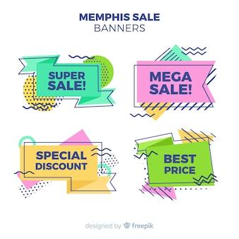 Banners de venda no estilo memphis