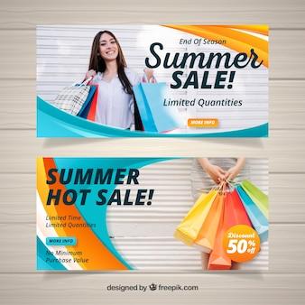 Banners de venda ondulado de verão com foto