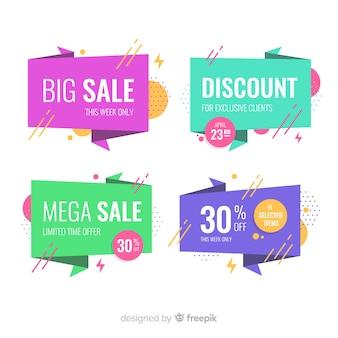 Banners de venda origami abstrato