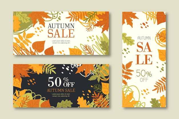 Banners de venda outono coleção mão desenhada