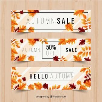 Banners de venda outono com design realista