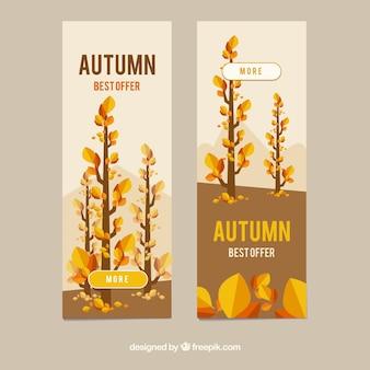 Banners de venda outono com folhas