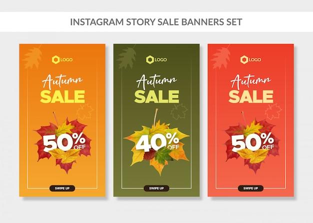 Banners de venda outono conjunto para web e história do instagram