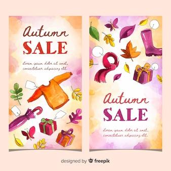 Banners de venda outono design aquarela