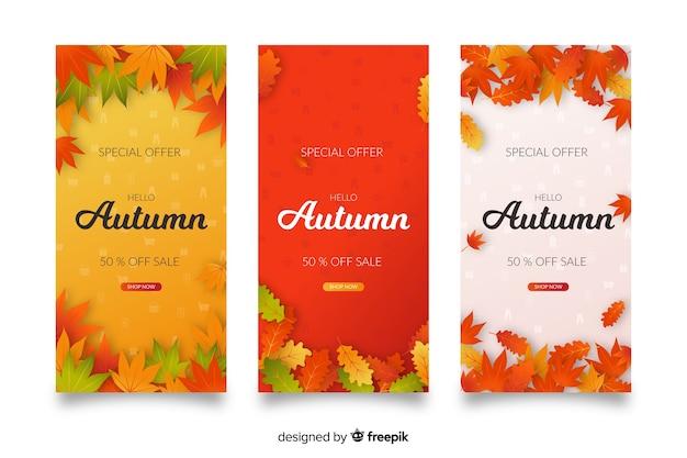 Banners de venda outono design plano