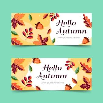Banners de venda outono em design plano