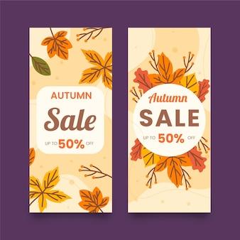 Banners de venda outono estilo mão desenhada