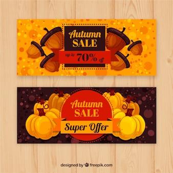 Banners de venda outono linda com estilo moderno