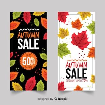 Banners de venda outono mão desenhada