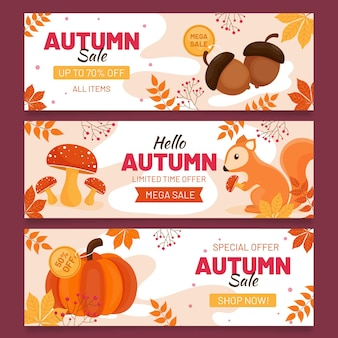 Banners de venda outono plana