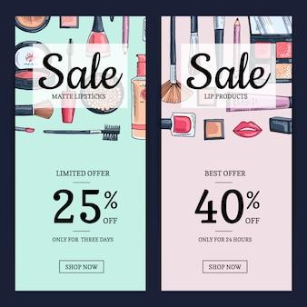 Banners de venda para beautyhop com produtos de maquiagem de mão desenhada