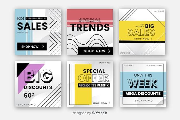 Banners de venda para o pacote de mídia social