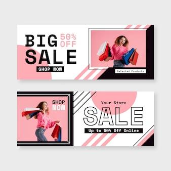 Banners de venda plana com foto