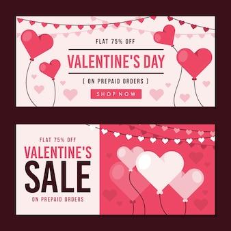 Banners de venda plana de dia dos namorados