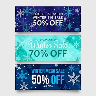 Banners de venda plana de inverno com grandes flocos de neve