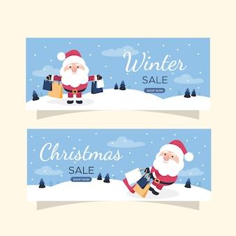 Banners de venda plana de inverno com papai noel e presentes