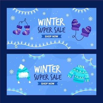 Banners de venda plana de inverno
