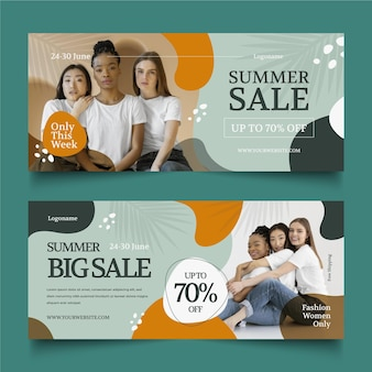Banners de venda plana de verão com foto