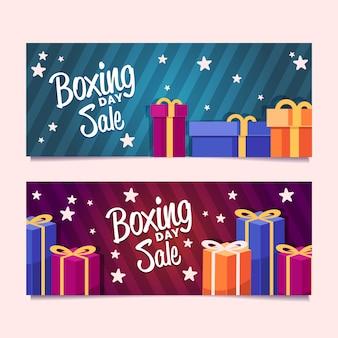 Banners de venda plana dia de boxe