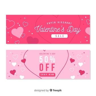 Banners de venda plana dia dos namorados
