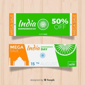 Banners de venda plana índia dia da independência