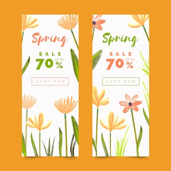 Banners de venda primavera aquarela com desconto