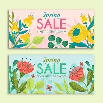 Banners de venda primavera com flores de mão desenhada
