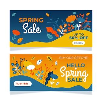 Banners de venda primavera com flores e folhas