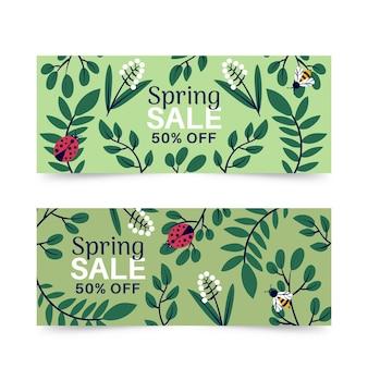 Banners de venda primavera com joaninha