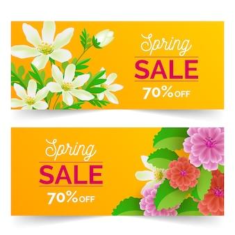 Banners de venda primavera design realista com desconto
