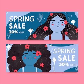 Banners de venda primavera em design plano