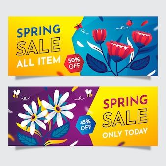 Banners de venda primavera plana colorida