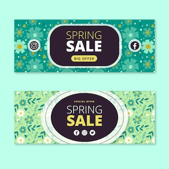 Banners de venda primavera plana