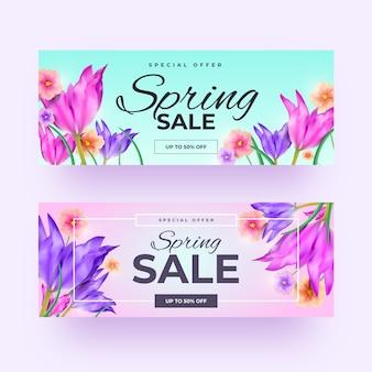 Banners de venda primavera realista