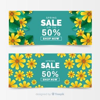Banners de venda realista primavera