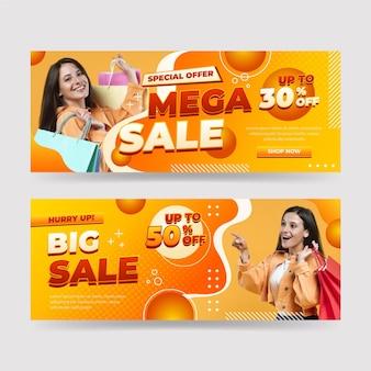 Banners de venda realistas com foto