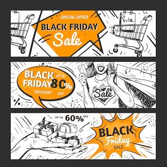 Banners de venda sexta-feira negra abstrata