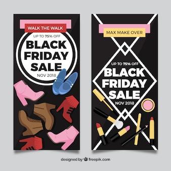 Banners de venda sexta-feira pretos para sapatos e cosméticos