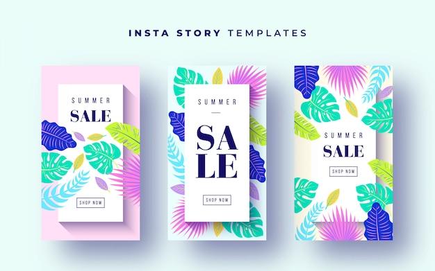 Banners de venda tropical para histórias de instagram