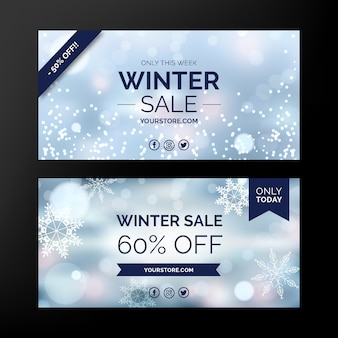 Banners de venda turva inverno com flocos de neve