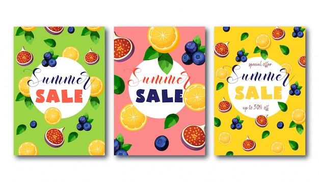 Banners de venda verão conjunto com frutas coloridas brilhantes em verde, rosa e amarelo.