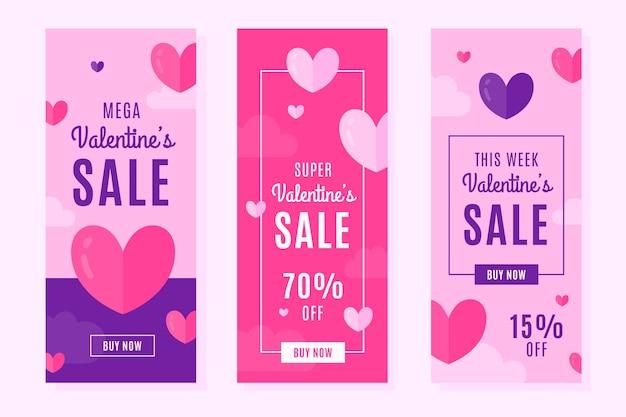 Banners de venda vertical plana de dia dos namorados com descontos