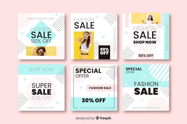 Banners de vendas abstratas para mídias sociais