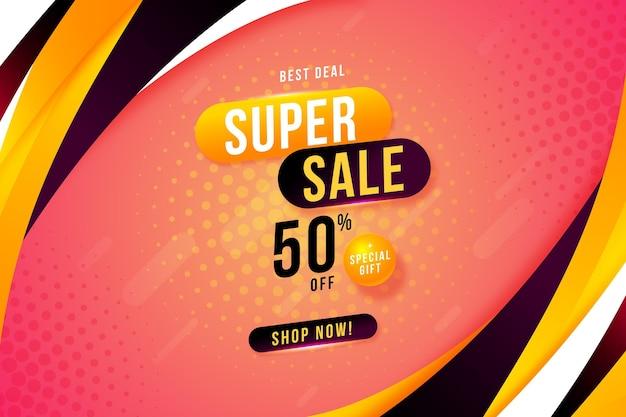 Banners de vendas abstratos de gradiente com oferta