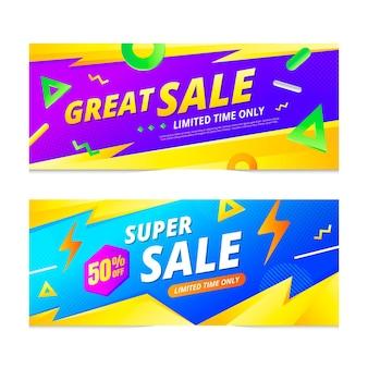 Banners de vendas abstratos em gradiente