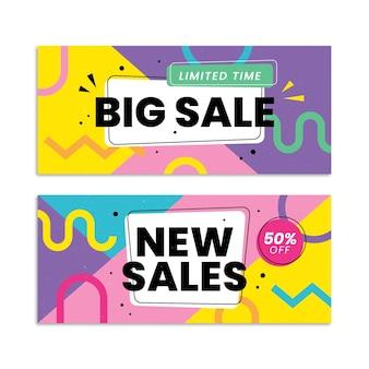 Banners de vendas abstratos planos