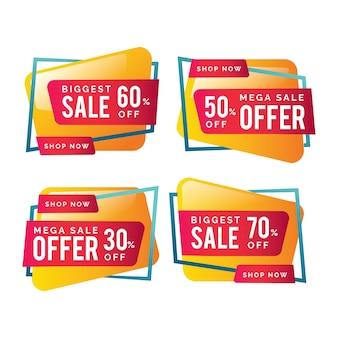 Banners de vendas coloridos com ofertas