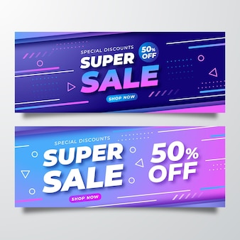 Banners de vendas criativos com detalhes abstratos