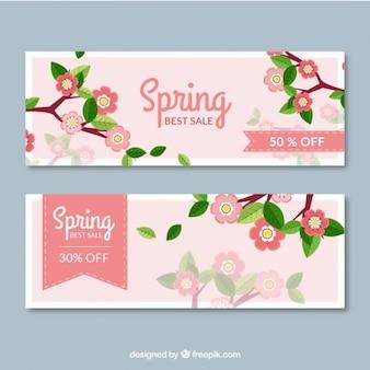 Banners de vendas da primavera